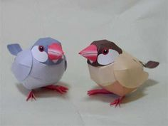 Animal papercraft: Colorful java sparrow bird paper toy - Toys for children 3d Paper Art, Origami Paper Art, 3d Paper Crafts, Bird Crafts, Paper Toys, Diy Paper, Arts And Crafts, Bird Paper Craft, Paper Quilling