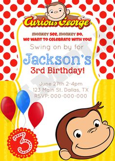 curious george birthday invitation by kaitlinskardsnmore on etsy 800 - Curious George Coloring Book In Bulk