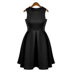 Amerikansk stil Damemode Big Hem Plisseret ærmeløs kjole (sort) – DKK kr. 109
