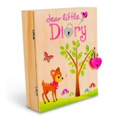 Dear Little Diary - Deer: Your Dear Little Diary comes lovingly packaged with a matching diary/notebook, pen, sticker set, heart lock, 2 heart keys and a sterling silver chain so you can wear your key around your neck. #alltotstreasures #dearlittlediary #diary #lockable #necklace #preciousmemories #keepsake #deer