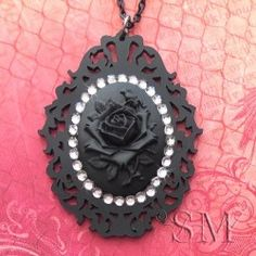 Rose Noir - black on black cameo necklace, gothic, lolita - 0