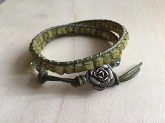 Chartreuse cube beaded double bracelet