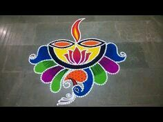 Diya Rangoli With Pen Holder For Diwali. Easy Rangoli Designs Videos, Easy Rangoli Designs Diwali, Diwali Special Rangoli Design, Rangoli Simple, Indian Rangoli Designs, Simple Rangoli Designs Images, Rangoli Designs Latest, Rangoli Designs Flower, Small Rangoli Design