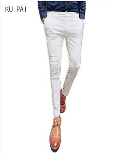 84041c47198 Men s casual pants 2017 new Korean version of the spring color Slim pants  hair stylist stretch