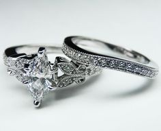 Marquise Diamond Butterfly Vintage Engagement Ring setting & Matching Wedding Band