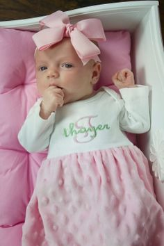 Monogrammed Minky Dot Layette Gown Newborn by boutiquesewunique, $40.00