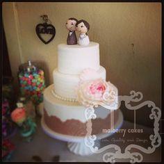 3 tier vinatage lace cake - Wedding Cakes - Malberry Cakes