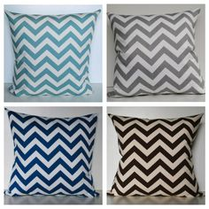 Chevron Obsession. Living room decor. Dusty blue, turquoise, grey, brown.  One Chevron Pillow Cover 18x18 by RAKAMod on Etsy, $24.00
