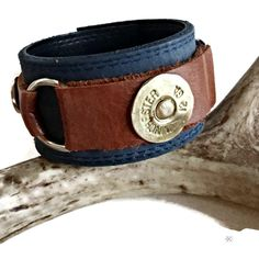 Blue Leather Shotgun Shell Cuff Bracelet, Gift for Outdoorsman, Personalized Leather Cuff, Christmas Present For Him, Christmas Gift, Unisex by ChatterByHammer on Etsy