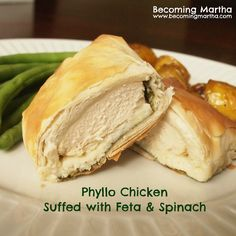 Phyllo Chicken Stuffed with Feta & Spinach - Becoming Martha