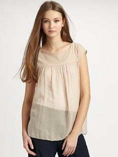 Vince. Shirred Silk Top.