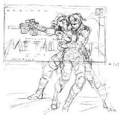 Meryl & Snake Rough Sketch, Metal Gear Solid 1