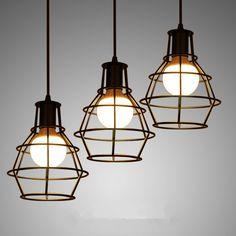 Barato Loft ferro lâmpada gaiola pingente com E27 lâmpada Industrial Vintage…