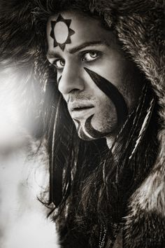 Shaman: Fur Headdress and Face Paint.