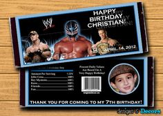 WWE Wrestling Party Favors Custom You Print by designsanddecors