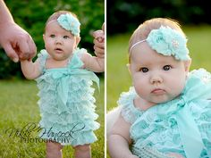 Ideas for how to pose 3-month old babies. Spring time shoot, photos for babies, rompers, outfit ideas