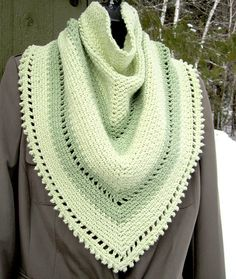 Sprout Green Tri-Scarf Crescent Shawl, Shawls, Blue Jeans, Fashion Accessories, Wraps, Crochet, Green, Crochet Crop Top, Rap Music