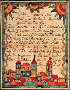 Fraktur by unidentified artist, probably York County, Pennsylvania  c. 1780, watercolor and ink on paper