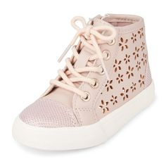 Toddler Girls Perforated Flower Hi-Top Sneaker