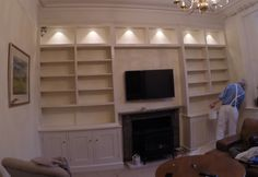 Fitted bookcase cabinets being painted by specialist painter Russell Brown Interiors. Colour is Farrow & Ball Slipper Satin. Alcove Shelving, Fitted Cabinets, Brown Interior, Farrow Ball, Bookcases, Slipper, Satin, Interiors, Colour