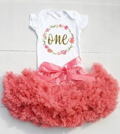 This 1st Birthday Outfit is too cute to celebrate your baby girl\'s first birthday! Your little one will get oohs and ahhs with this adorable baby outfit! Perfect for photos, party or birthday announce