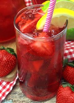 Southern Strawberry Sweet Tea! -  http://recipesheaven.com/southern-strawberry-sweet-tea - This Southern Strawberry Sweet Tea is made with real strawberries and its sure to be an instant HIT in your house!  I have made it 3 times this week already!  Its pretty simple too!  .  .  .  .  .   .  Please remember to SHARE on Facebook & PIN IT! Follow me on PINTEREST by Clicking HERE           PrintSouthern Strawberry Sweet Tea! Ingredients 3 Cups water in pot 6 Tea Bags 1