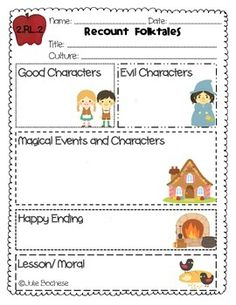 FREEBIE Graphic Organizer for retelling fairytales and folktales Visit my store to purchase the graphic organizer set for all second grade reading standards. 2nd Grade Ela, 2nd Grade Classroom, First Grade Reading, Second Grade, Grade 2, Reading Skills, Teaching Reading, Reading Nook, Guided Reading