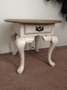 Repainted Distressed Side Table Off White Two Tone