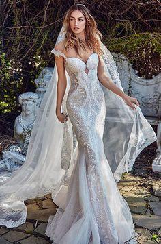 Sparkly mermaid wedding dress with a sheer low back via Galia Lahav - Deer Pearl Flowers / http://www.deerpearlflowers.com/wedding-dress-inspiration/sparkly-mermaid-wedding-dress-with-a-sheer-low-back-via-galia-lahav/