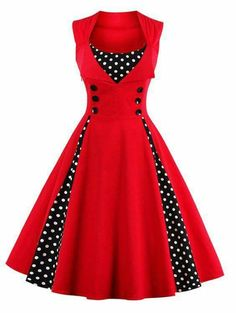 Midi Polka Dot Prom Rockabilly Swing Vintage Prom Dresses - Wine Red - S e7a706900c