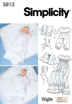 $9.67-$10.95 Baby Simplicity Sewing Pattern 5813 Babies Christening Gowns Size A (XXS-XS-M) - Babies' Christening gown, Slip, Romper, Jacket and Bonnet in Three Sizes Simplicity sewing pattern 5813, part of Simplicity Winter 2002 collection. Pattern for 4 looks. For sizes A (XXS-XS-M). http://www.amazon.com/dp/B000MU1PSO/?tag=pin2baby-20