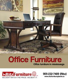 Perfect #Office #Furniture in #Mississauga. We have Home and Office Chair, Computer Desk. If you are Interested to purchase then call feel free: 905-232-7489, 289-521-7489 Website: http://www.ritzfurnitureplanet.ca/Home-Offices/