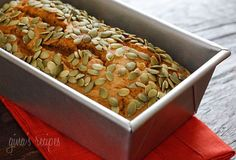 The day was cool and crisp, perfect for baking pumpkin bread and the sweet scent of pumpkin spices that warmed my kitchen made me realize just how much I love October.  This bread is super moist and low fat, without all the added fat you usually find in store bought quick breads. If you can't find canned pumpkin, make your own or use butternut squash instead.   Low Fat Pumpkin Bread With Pepitas Skinnytaste.com Servings: 16 slices • Serving Size: 1/2 inch thick slice • Points +: 3 pts •…