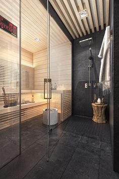 Spa home. - if there is a sauna in the bathroom, then with a glass partition and shower directly next to it, th - Home Spa Room, Spa Rooms, Sauna Steam Room, Sauna Room, Saunas, Bad Inspiration, Bathroom Inspiration, Basement Sauna, Spa Hammam