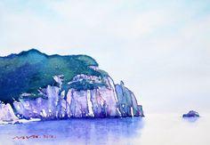 백령도 두문진 53.0 x 40.9cm watercolor dn ppaper watercolor by Jung in sung