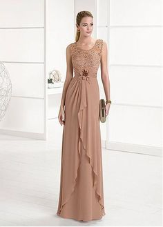 Buy discount Chic Lace & Chiffon Scoop Neckline Full Length Sheath/Column Mother Of The Bride Dresses With Beadings & Handmade Flower at Dressilyme.com