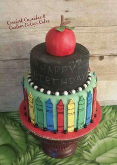 Teacher chalk board cake.