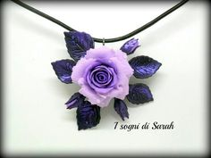 purple rose pendant in polymer clay