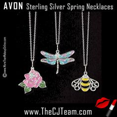 Sterling Silver Spring Inspirations Necklace. Avon. Spring has sprung with these spring notions necklaces. Choose from a bee, rose, or dragonfly to complete each springtime look! Sterling silver necklace with your choice of a colorful, CZ embellished rose, dragonfly, or bee pendant. Regularly $44.99. FREE shipping with any $40 Avon purchase.  #CJTeam #Avon #Style #Sale  #CJTeam #Jewelry #FineJewelry #SterlingSilver #Necklace #925 #Avon4me #Bee #Rose #C11 Shop Avon jewelry @ www.TheCJTeam.com
