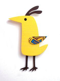 Whimsical Modern Yellow Wood and Metal Folk Art Bird Wall Hanging