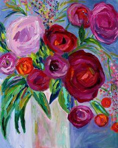 """Carmen"", 24"" x 30"", Abstract bouquet in vase by Carolyn Shultz"