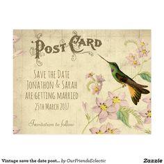 Vintage save the date postcard hummingbird