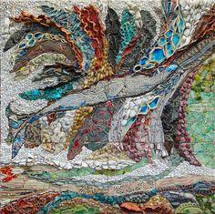 """Ilana Shafir """"Through The Waves"""" 2011 47x47 cm Handmade ceramic pieces, stones."""