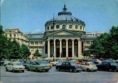 "Romania - Bucharest [018] - front   RetROmania #63  Card from Romania, Bucharest / Bucuresti, The Romanian Athenaeum / Ateneul Român, featuring VW Beetle / Käfer / Broascã / Buburuzã (x2) + Karmann Ghia Coupé, OPEL Rekord C Coupé, ŠKODA 1000MB (x3), FIAT 850 + 125, CITROËN 2CV ""Ente"" and others Fiat 850, Bucharest Romania, Vw Beetles, Taj Mahal, Classic Cars, Mansions, House Styles, Postcards, Buildings"