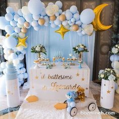 Baby Shower Decorations For Boys, Boy Baby Shower Themes, Baby Shower Balloons, Baby Shower Fun, Baby Shower Gender Reveal, Birthday Party Decorations, Shower Party, Baby Boy 1st Birthday Party, Baby Birthday Cakes