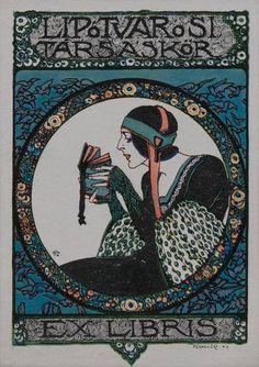 Ex libris par Géza Faragó Hun pour Lipótvárosi Társaskör 1913 Ex Libris, Walter Crane, Art Nouveau, Artwork Images, Painting Edges, Stationery Design, Vintage Advertisements, Deco, Book Art