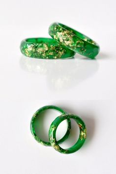 Dark Green Resin Ring With Gold Flakes Thin Faceted by Resity