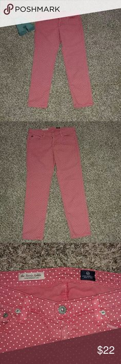"""AG Adriano Goldschmied Pink Polka Dot Jeans AG Adriano Goldschmied Pink Polka Dot"""" the Stevie Ankle"""" jeans. Size 30 Inseam 26"""" long. AG Adriano Goldschmied Jeans Ankle & Cropped"""