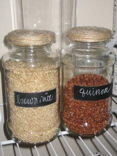 We love using old jars as storage containers. We usually just spray paint the lid also.