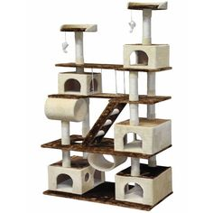 Your cat will love this GoPetClub Huge Cat Tree Condo House. They'll never get bored on all the different levels with various play pieces. Your cat will feel like they have their very own home inside yours.
